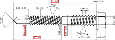 TS3: TORNILLO AUTOTALADRANTE, CON DOS ROSCAS, PARA PANEL SANDWICH, PUNTA BROCA N° 3. SELF DRILLING SCREW, WITH TWO THREADS, FOR SANDWICH PANELS, DRILL POINT N° 3. VIS AUTOPERCEUSE, POINTE FOREUSE N° 3, DOUBLE FILET, POUR PANNEAUX SANDWICH