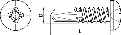 TBR DIN-7504-N: TORNILLO AUTOTALADRANTE, CABEZA ALOMADA, PHILLIPS. SELF DRILLING SCREW, PAN HEAD, PHILLIPS RECESS. VIS AUTOPERCEUSE, POINTE FOREUSE, TÊTE CYLINDRIQUE BOMBÉE PHILLIPS