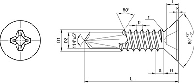 TBP DIN-7504-P: TORNILLO AUTOTALADRANTE, CABEZA PLANA, PHILLIPS. SELF DRILLING SCREW, FLAT HEAD, PHILLIPS RECESS. VIS AUTOPERCEUSE, POINTE FOREUSE, TÊTE FRAISÉE, PHILLIPS