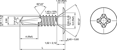 TBCE: TORNILLO AUTOTALADRANTE, CABEZA EXTRAPLANA, PHILLIPS. EXTRA LOW HEAD, SELF DRILLING SCREW, PHILLIPS RECESS. VIS AUTOPERCEUSE, POINTE FOREUSE, TÊTE EXTRA PLATE, PHILLIPS