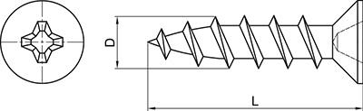 TPVC-20: TORNILLO CABEZA AVELLANADA, FILETE 40° PARA PVC, CABEZA REDUCIDA Ø 7 mm. COUNTERSUNK HEAD SCREW, THREAD 40° FOR PVC, S POINT, REDUCED HEAD Ø 7 mm. VIS TÊTE FRAISÉE, FILET 40° POUR PVC, POINTE CLOU, TÊTE Ø 7 mm.