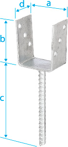 "CM0030: ANCLAJE EN FORMA DE ""U"", CON BARRA DE ACERO CORRUGADO ø 19 SOLDADA, GALVANIZADO EN CALIENTE. ANCHOR POST, U-SHAPED, WITH WELDED CORRUGATED STEEL BAR ø 19 , HOT DIP GALVANIZED. ANCRE DE POTEAU, FORME ""U"", AVEC TIGE À SCELLER EN ACIER CANNELÉ ø 19, SOUDÉE, GALVANISÉE À CHAUD"