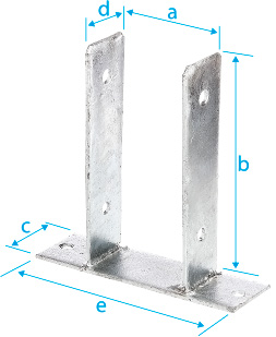 "CM0050: ANCLAJE EN FORMA DE ""U"", PARA ATORNILLAR DIRECTAMENTE, GALVANIZADO EN CALIENTE. ANCHOR POST, U-SHAPED, TO BE SCREWED DIRECTLY, HOT DIP GALVANIZED. ANCRE DE POTEAU, FORME ""U"", À CHEVILLER, GALVANISÉE À CHAUD"