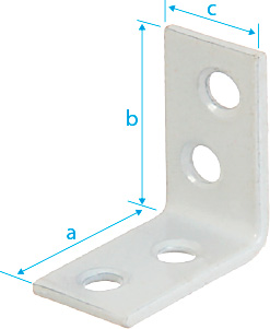 CM0590: ESCUADRA PARA SILLA, ORIFICIOS AVELLANADOS EN AMBAS CARAS, PLASTIFICADA BLANCO. CORNER BRACES, WITH BEVELLED-EDGE HOLES ON BOTH SIZES, WHITE POWDER COATED. ÉQUERRE DE CHAISE, TROUS FRAISÉS SUR LES 2 FACES, PLASTIFICACION BLANCHE