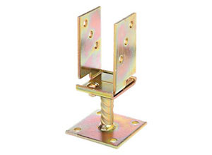 "CM0100: ANCLAJE PARA POSTE EN FORMA DE ""U"", ANCHO REGULABLE, BICROMATADO. ANCHOR POST, U-SHAPED, ADJUSTABLE WIDTH, YELLOW ZINC PLATED. ANCRE DE POTEAU, FORME ""U"", LARGEUR RÉGLABLE, GALVANISÉE BICHROMATÉE"